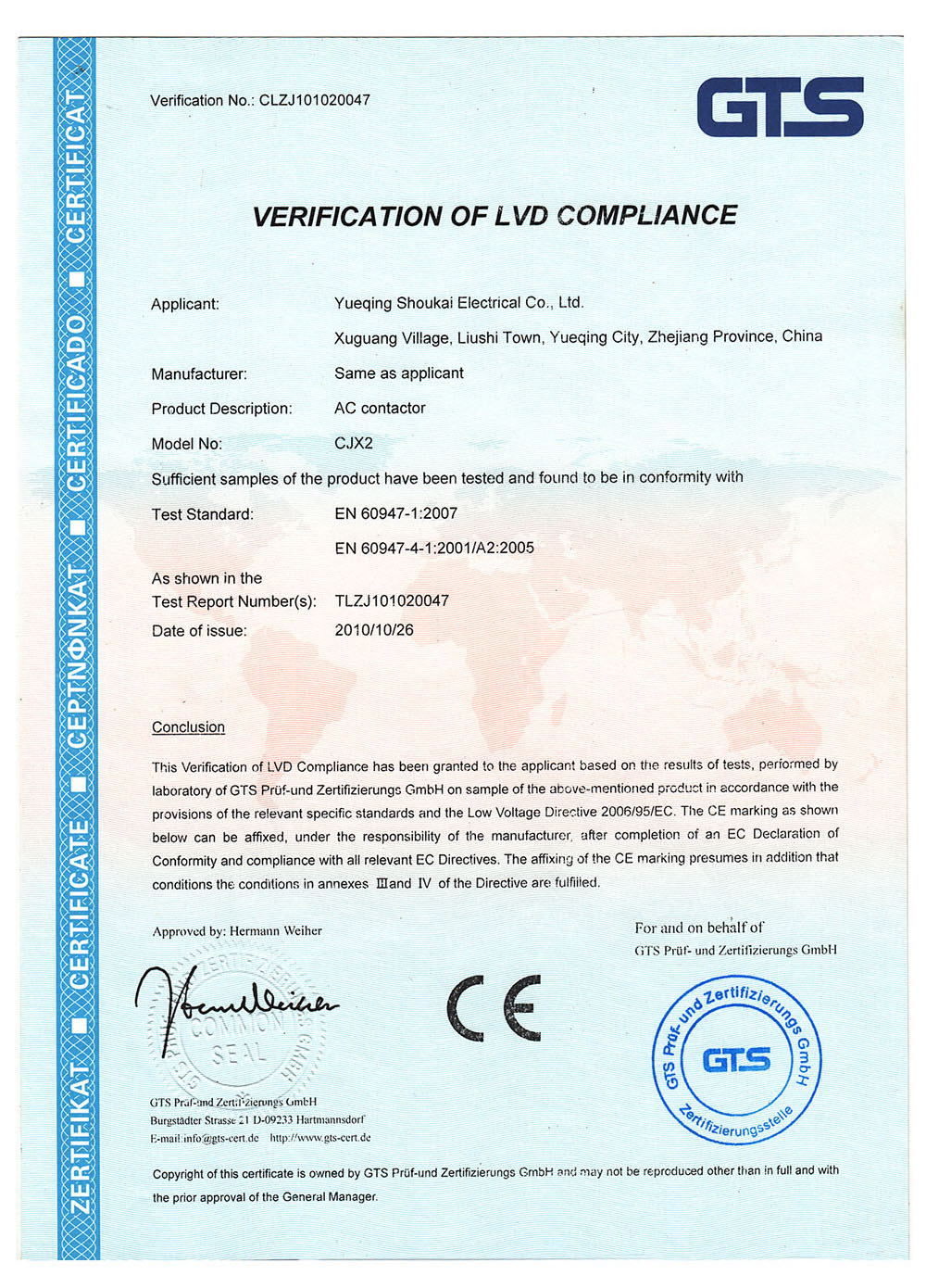 VERIFICATION OF LVD COMPLIANCE